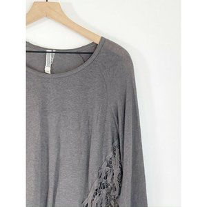 Monoreno Gray Scoop Neck Top M Lace Inset Linen
